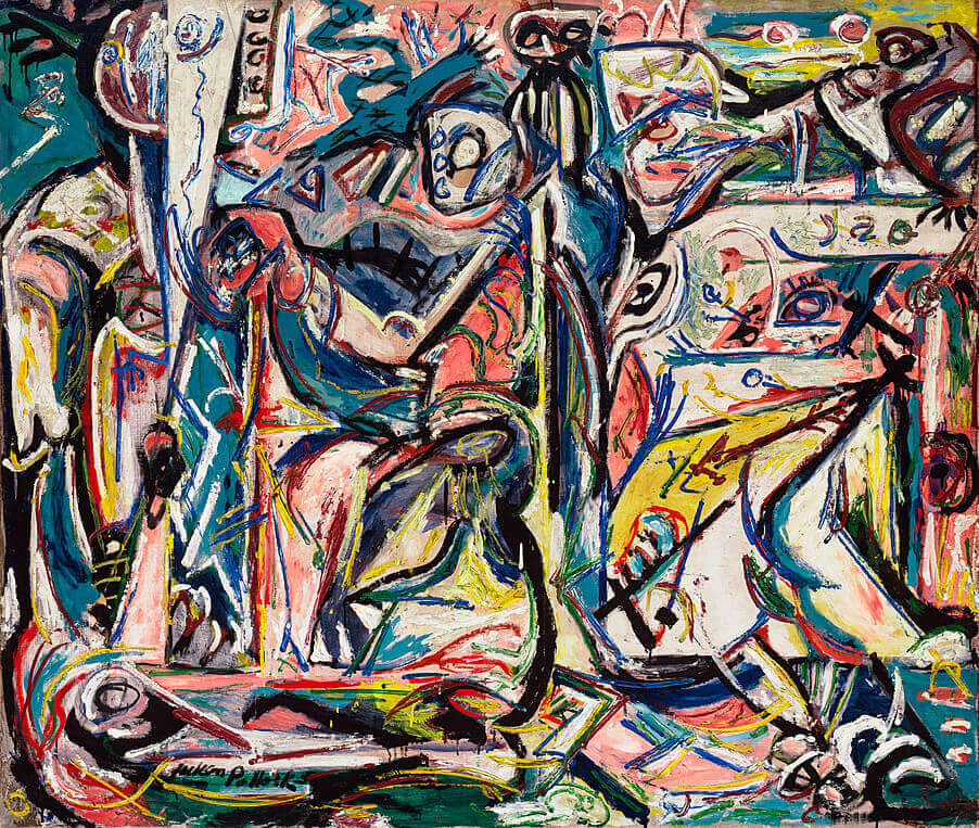 Circumcision by jackson pollock for Mural on indian red ground