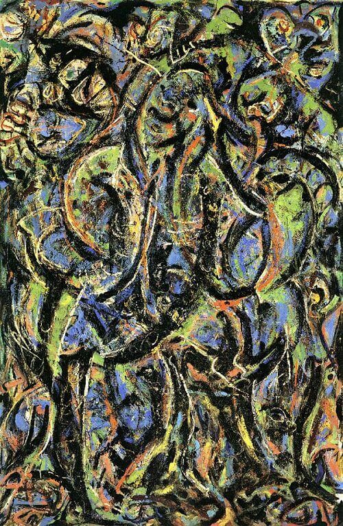 Gothic 1944 by jackson pollock for Mural on indian red ground