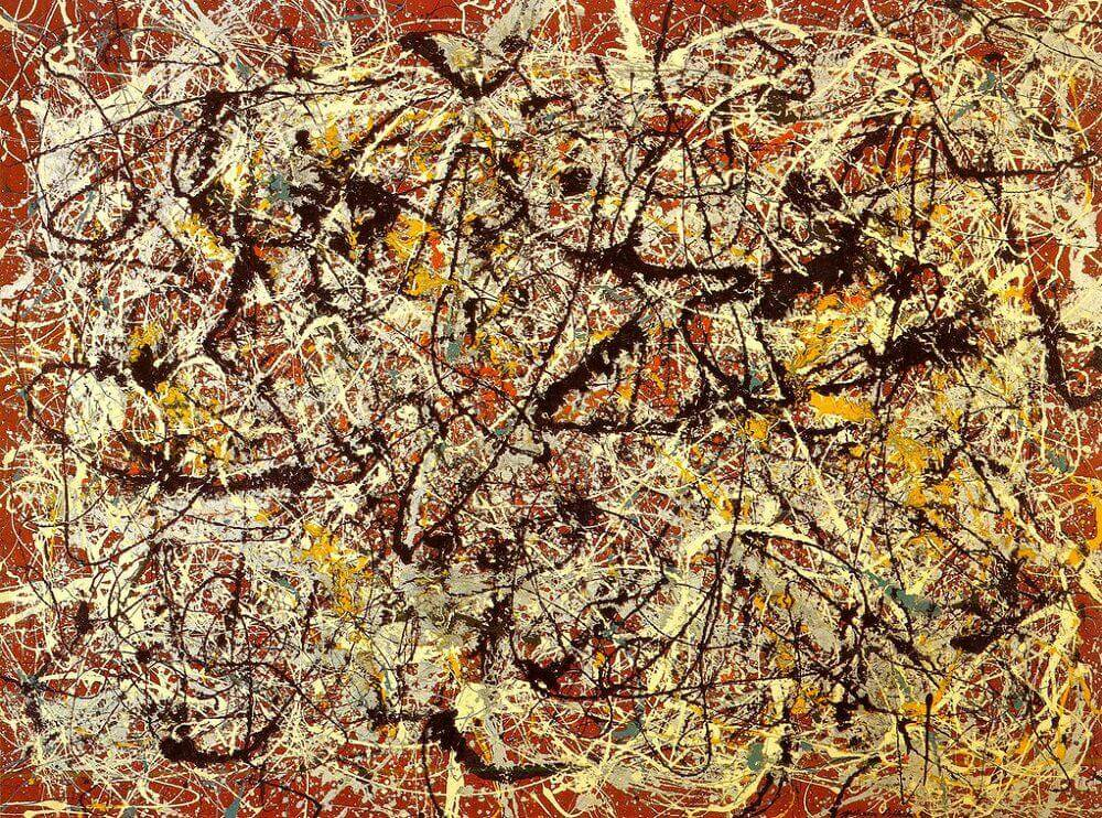 Mural on indian red ground 1950 by jackson pollock for Mural pollock