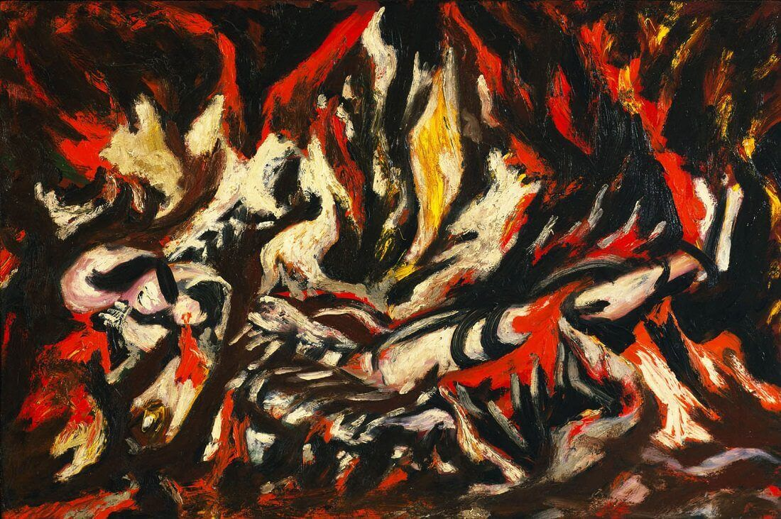 The flame 1938 by jackson pollock for Mural on indian red ground