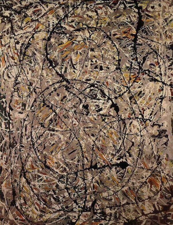 Undulating paths 1947 by jackson pollock for Mural on indian red ground