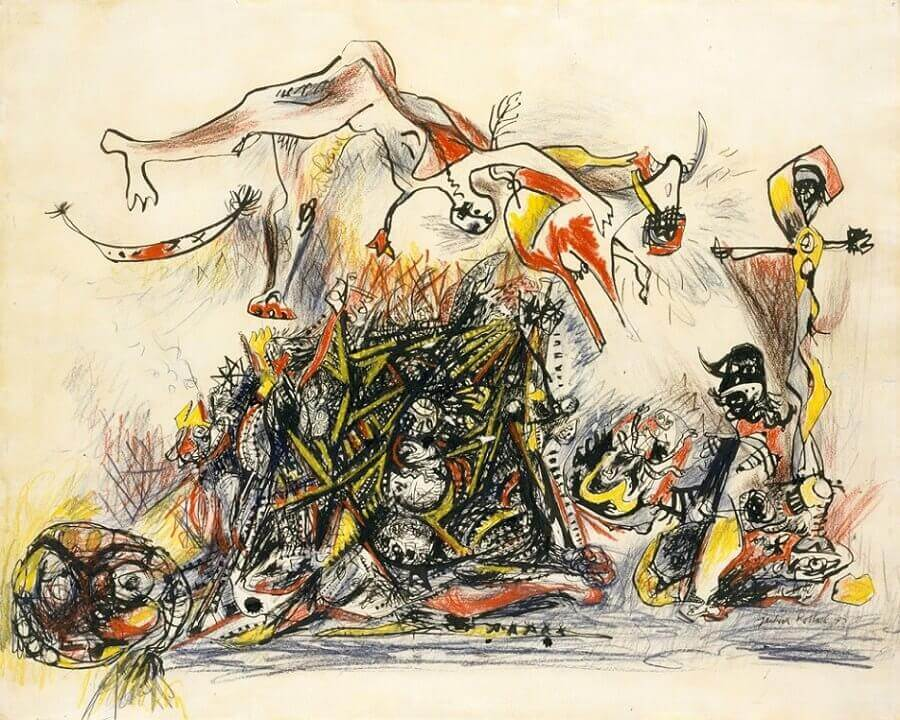War 1947 by jackson pollock for Mural on indian red ground